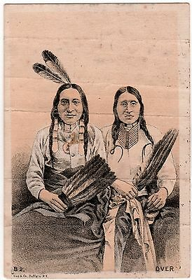 Late 1800's 2 Native American Indians w/ Feathers Trade Card from Clinton MAINE