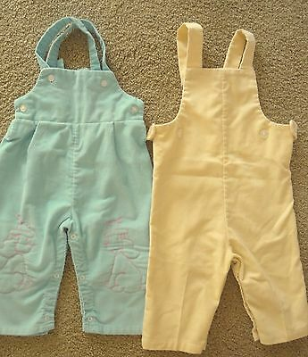 2 PAIR Vintage 1960s HEALTH-TEX Corduroy Overalls 1 Yellow 1 Blue 12-18 months
