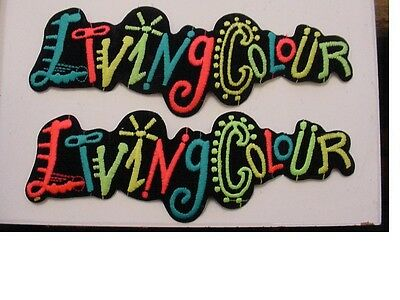 """set of 2 large LIVING COLOUR EMBROIDERED 80'S ROCK -IRON ON PATCH- 9.5"""" LICENSED"""