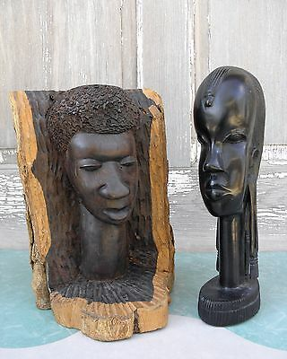 Vintage Tribal African Woman Man Sculpture Ebony Wood Hand Carved