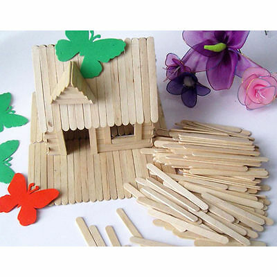 50/100/200 Wooden Popsicle Stick Cake Lolly DIY HandiCraft Art Kid Toy