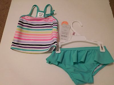 NWT Carter's infant girl 2 piece Tankini swimsuit 6-9 months multicolor stripes