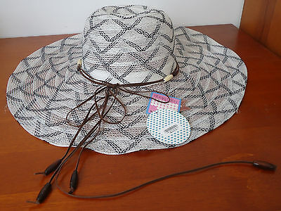 Women's Black & White Lightweight Beaded Large Brim Sun Hat Adult One Size