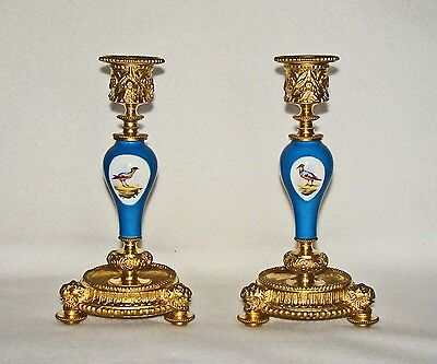 A Fine Pair of Antique French Gilt Bronze & Porcelain Sevres-Style CANDLESTICKS