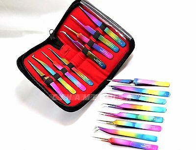 OR Set of 8 Piece Stainless Steel Multi Rainbow Color Eyelash Extension Tweezers