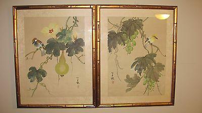 Pair of Asian Japanese or Chinese Woodblock Prints Birds Grapes Pear on Silk