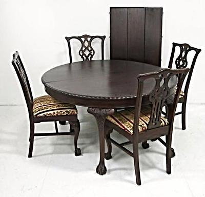 Stunning Antique Refinished Chippendale Dining Set Round Table 3 Leaves 4 Chairs