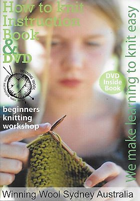 How to knit instruction book + DVD easy knitting guide PB book
