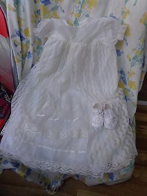 Nylon Baby Christening Gown For Large Doll W, Lace Shoes  Pretty Retro Kitsch