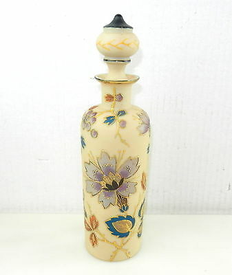 "Mount Washington CROWN MILANO 10"" Hand Painted Glass Decanter Bottle w/ Gold"