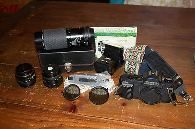Canon T50 Camera Lot with FD 50mm 1.8 and More