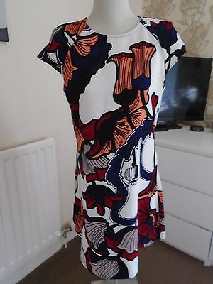 RIVER ISLAND White and Print Dress with short Sleeves  Size 10