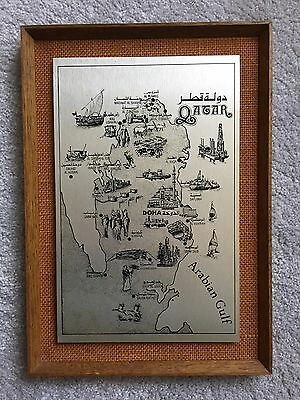 Vintage Framed Silver Map of Qatar Doha Arabian Gulf Etchings Engraving Wendron