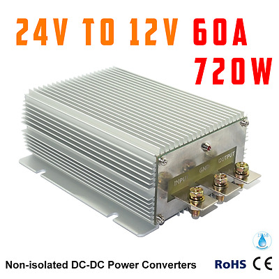 DC 24V Step-down to 12V 60A 720W Car Power Converter Waterproof Vehicle