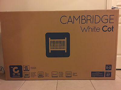 New Cambridge White Cot And Baby Bunting Inner Spring Mattress. New In Box.
