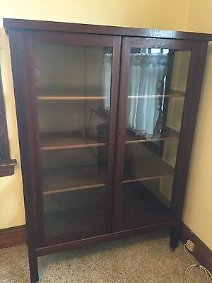 Antique Mission Arts & Crafts Oak Bookcase Cabinet Glass Doors Paneled Vtg Old