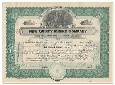 New Quincy Mining Company Stock Certificate