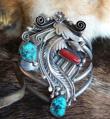 Henry Baca  Navajo Native American Turquoise Coral Sterling Silver Cuff Bracelet