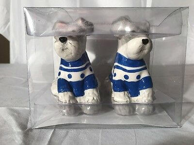 Schnauzer salt and pepper shakers set new wearing sweater