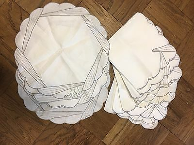 12- Piece Linen Large Napkin & Placemat Set, Lovely Madeira Embroidery With Tags
