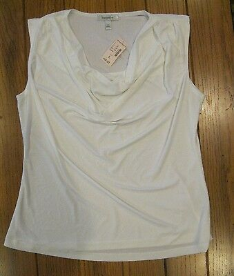 NEW~Womens Dressbarn White Scoop Neck Blouse Tank Top Summer Top~NWT