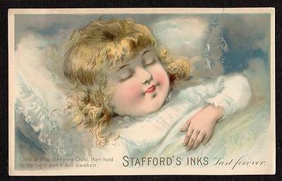 Stafford's Inks*hold To Light Victorian Trade Card*sleeping Girl Wakes Up*vtc