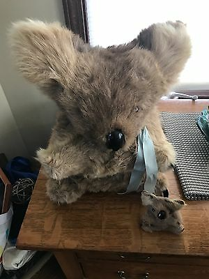 vintage real looking fur koala glass eyes with baby