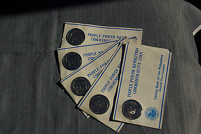 Lot of 5 PHILIPPINE 10 PISO Coins 1988 FLAG COMMEMORATIVE Uncirculated W/ FOLDER