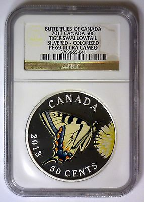 2013 Tiger Swallowtail Colorized 50c Butterflies of CANADA ~ NGC PF69 PR 69 UCAM