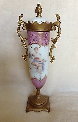Antique French Porcelain Painted Urn W/ Non Removable Lid