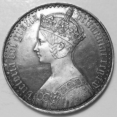 UK  1847 Queen Victoria Gothic Crown, Proof, Undecimo Edge. Frosted portrait.