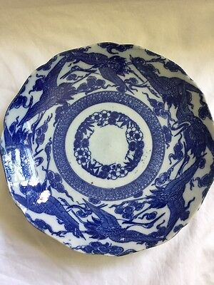 Antique Japanese Plate Cranes Clouds Flowers Blue & White