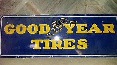 Vintage Goodyear Flying Shoe Tire Porcelain Sign Original Vhtf C1930's