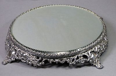 Antique Plateau Beveled Vanity Mirror Repousee Flowers Pairpoint Mfg.#2857