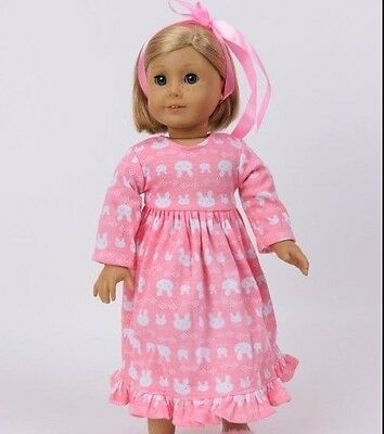 "Pink bunny nightgown 18"" doll clothing fits American girl"