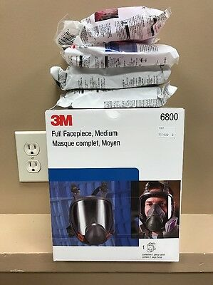 3M 6800 Mask NEW Full Face Respirator Medium W/ 4 Pack Of Carts FREE USA SHIP
