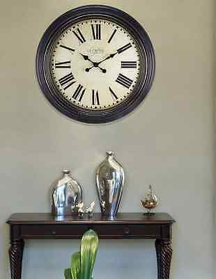 """Large 23"""" Antique Style Decorative Brown Round Wall Clock w/Roman Numerals"""