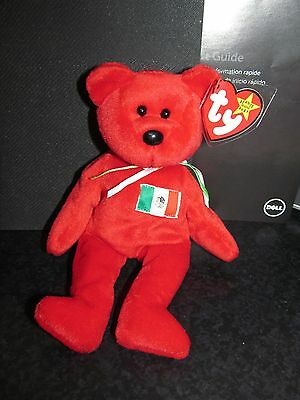 """Ty Beanie Babies Rare Retired 1999 """"Osito"""" Mexican Bear with Errors - NWMT"""