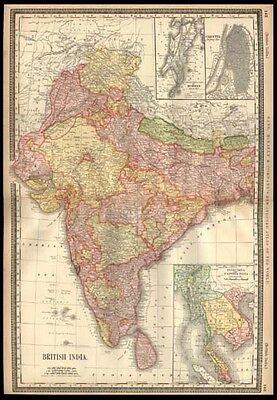 British India 1887 Rand McNally Map Gulf of Bengal Bombay Calcutta Burma Laos