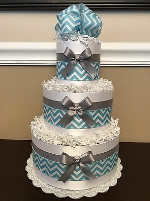Diaper Cake Blue Gray White Chevron Bows Boys Pampers Baby Shower Centerpiece
