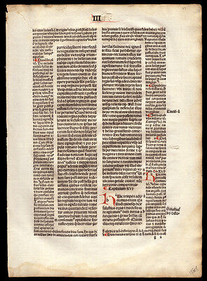 Incunable Leaf 1494 The City of God  St Augustine of Hippo Commentary Christian
