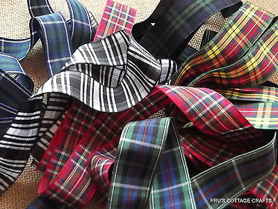 Tartan Ribbon - Various Widths- Sold By The Metre-Christmas/Crafts/Sewing