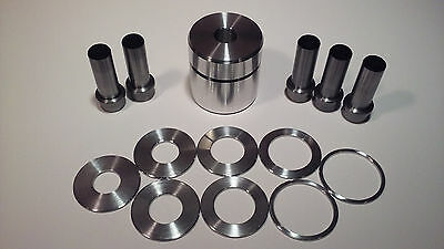 "Coin Ring Center Punch Kit 1.75"" for Rounds. 5 Punches and 8 Spacers!!!"