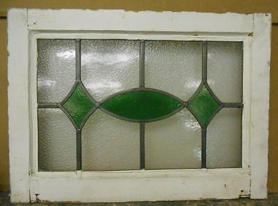 "OLD ENGLISH LEADED STAINED GLASS WINDOW Green Ellipse  & Diamonds 20.5"" x 15"""