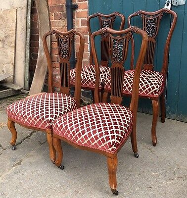 Set of 4 Antique Edwardian Carved Mahogany Parlour Salon Bedroom Hall Chairs