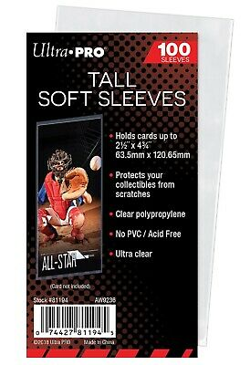 Ultra Pro 2 5/8 x 3 5/8 Soft Card Sleeves for Tallboy trading cards, 100 count