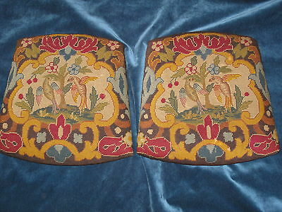 2 Antique Needlepoint Tapestry Chair Seats In The Chippendale Style W Birds