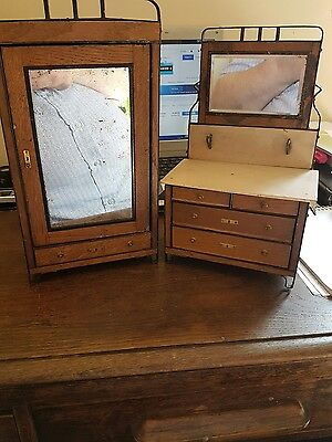 2 apprentice pieces antique miniture furniture