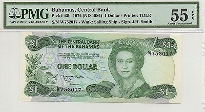 BAHAMAS ND (1984) $1 ONE DOLLAR NOTE, P43b, PMG 55 EPQ