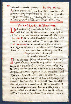 "Hand-Written Missal Leaf  Gothic Text Monastery Benedictine Feria or ""Free"" day"